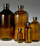 Boston Round Amber Glass Bottles